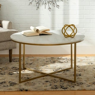 Silver Orchid Helbling 36-inch Round Coffee Table, Gold Metal X-base, for Living Room - 36 x 36 x 19H