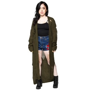 Xehar Womens Distressed Side Slit Hi-Lo Long Cardigan Sweater