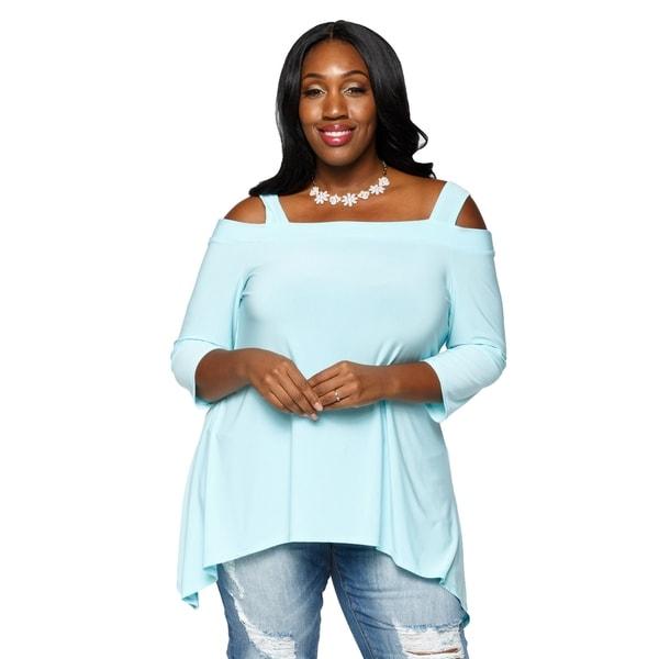 33ff7b860dc Shop Xehar Womens Plus Size Sexy Asymmetrical Trapeze Tunic Blouse ...