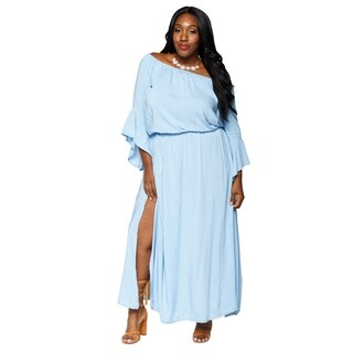 Xehar Womens Plus Size Casual Boho Side Slit Maxi Dress (3 options available)