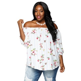 Xehar Womens Plus Size Casual Stylish Off Shoulder Floral Blouse Top