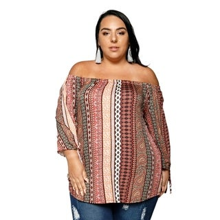 Xehar Womens Plus Size Off Shoulder Gypsy Boho Tunic Blouse Top