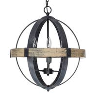 Castello Black Wrought Iron Wood 4-light Orb Chandelier
