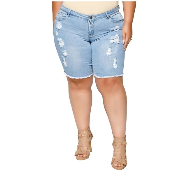 b09f84af4d3 Shop Xehar Womens Plus Size Distressed Ripped Denim Short - On Sale ...