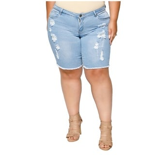 Xehar Womens Plus Size Distressed Ripped Denim Short