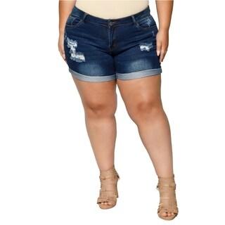 Xehar Womens Plus Size Distressed Denim Short