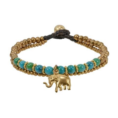 Handmade Mighty Brass Elephant Green Brass Beads Jingle Bell Bracelet