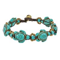 Handmade Swimming Green Turquoise Sea Turtles & Brass Beads Jingle Bell Bracelet (Thailand)