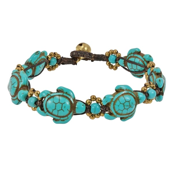 Handmade Swimming Green Turquoise Sea Turtles Brass Beads Jingle Bell Bracelet (Thailand). Opens flyout.