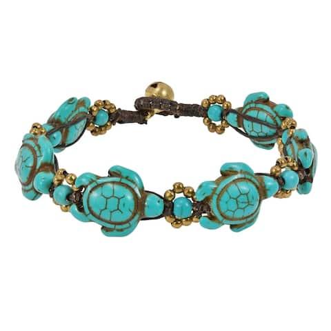 Handmade Swimming Green Turquoise Sea Turtles Brass Beads Jingle Bell Bracelet (Thailand)