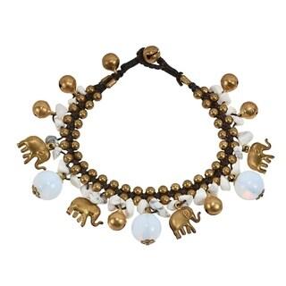 Regal Brass Elephants w/ Howlite & Moonstone Jingle Bell Bracelet - White