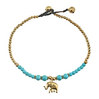 Stylish Brass Elephant Charm & Green Turquoise Beads Jingle Bell Anklet