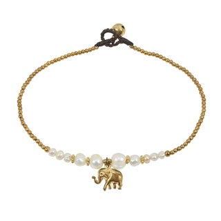Handmade Stylish Brass Elephant Charm & White Pearl Beads Jingle Bell Anklet (Thailand)