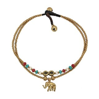 Amazing Infinity Elephant Charm Double Strand Mixed Stone Anklet - multi-color