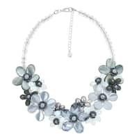 Handmade Romantic Moonlight Smokey Floral Sparkling Crystal Statement Necklace (Thailand) - grey