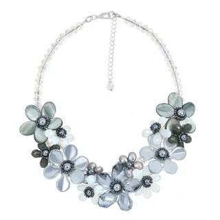 Handmade Romantic Moonlight Smokey Floral Sparkling Crystal Statement Necklace - grey