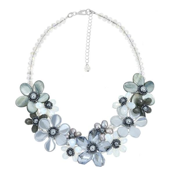 Handmade Romantic Moonlight Smokey Floral Sparkling Crystal Statement Necklace (Thailand) - grey