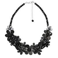 Handmade Midnight Garden Mixed Black Stones Floral Statement Necklace (Thailand)