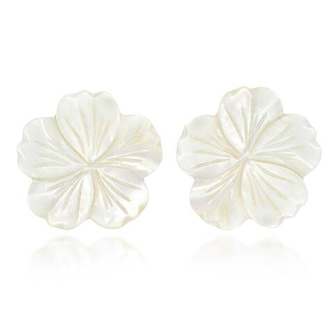 Beautiful Large White Mother of Pearl Plumeria Flower Post Earrings