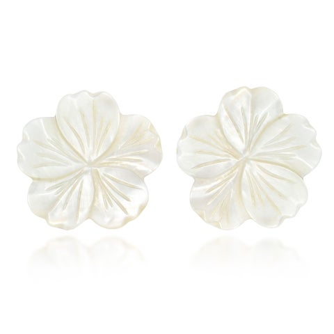 Handmade Beautiful Large White Mother of Pearl Plumeria Flower Post Earrings (Thailand)