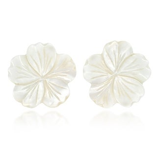 Handmade Beautiful Large White Mother of Pearl Plumeria Flower Post Earrings (Thailand)