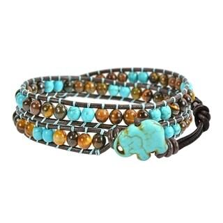Handmade Powerful & Wise Turquoise Elephant Double Wrap Bracelet (Thailand) - brown-turquoise