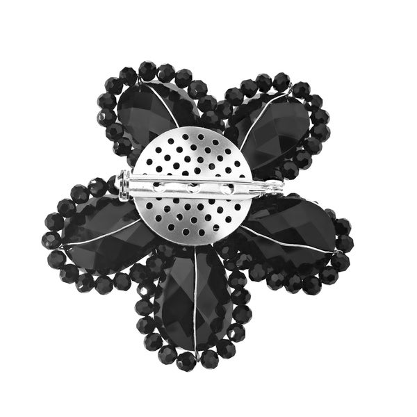 AeraVida Sparkling Black Fashion Crystal Flower Pin or Brooch