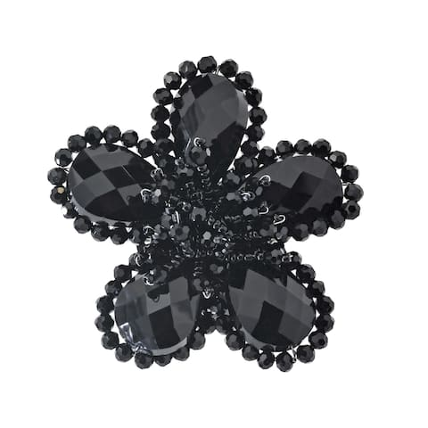 Handmade Sparkling Black Crystal Flower Brooch Pin (Thailand)