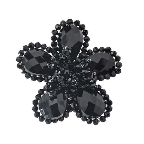 Handmade Sparkling Black Crystal Flower Brooch Pin (Thailand)