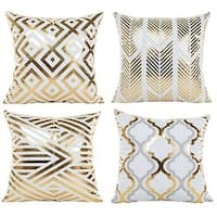 Modern Vibrant Gold Foil Print Metallic Shiny Pillow Covers
