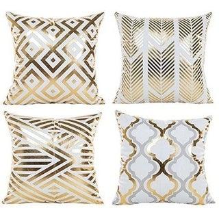 Modern Vibrant Gold Foil Print Metallic Shiny Pillow Covers