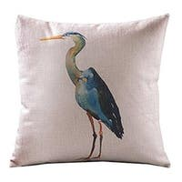 Cotton Linen Pillow Cushion Cover Bird Grus Japonensis Square 16""