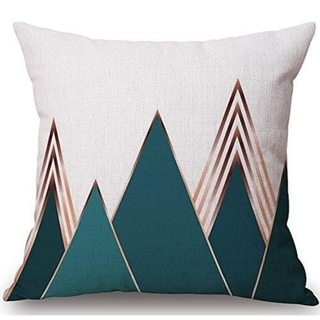 Modern Geometric Style Pillow Covers, 18 x 18 Inches, (Green Mountain)