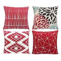 Modern Geometric Style Pillow Covers, 18 x 18 Inches Pink (Coral Red)
