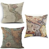 "Map Art Geography Theme Throw Pillow Cases Couch Covers 18"" x 18"""