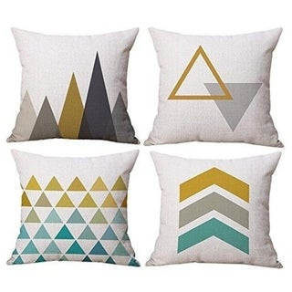 Geometric Style Linen Burlap Square Decor Pillow Covers 18 x 18 Inches