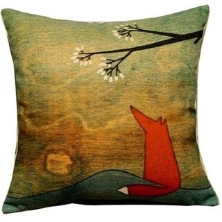18-Inch-by-18-Inch Lovely Fox Under the Tree Throw Pillow Covers