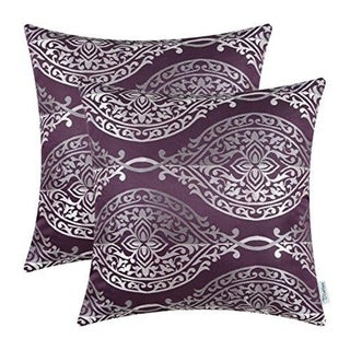 Pillow Covers Cases for Couch Sofa Home Décor 18 X 18 Inches, Eggplant