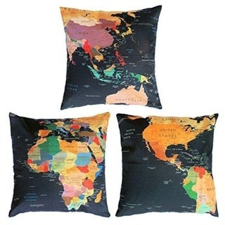 World Map Pattern Cushion Bed Pillow Covers for Sofa 18x18 inches