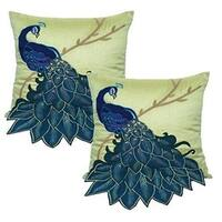 Embroidered Gorgeous Peacock Decorative Pillow Case 18 Inch by 18 Inch