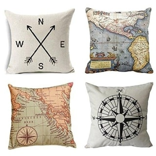 Geography Theme Throw Pillow Covers - 18 X 18 Inch
