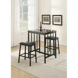 3 Piece Rubber Wood Counter Height Set Black