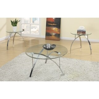 Complex Metal Frame 3 Pieces Coffee End Table Set Silver
