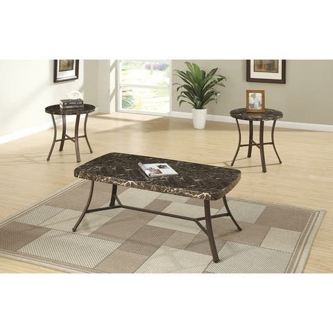 Metallic Coffee End Table Set With Faux Marble Top, Brown