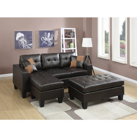 Bonded Leather All In One Sectional With Ottoman And 2 Pillows In Espresso Brown