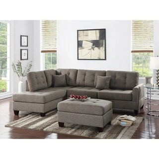 Polyfiber 3 Piece Sectional Set With Plush Cushion In Light Brown