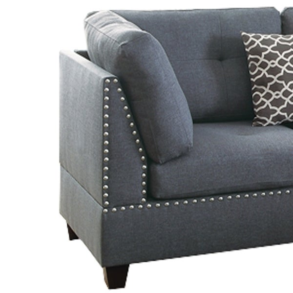 Polyfiber 3 Pieces Sectional Set With Nail head Trim In Blue Gray