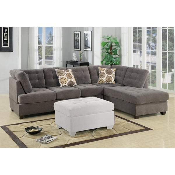 Luxurious And Plush 2-Piece Corduroy Sectional Sofa In waffle Suede Charcoal