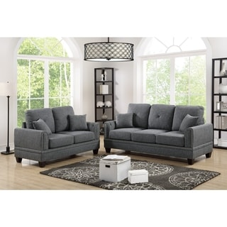 Polyfiber 2 Piece Sofa Set With Nail head Trims In Gray