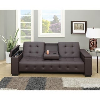 Faux Leather Adjustable Sofa With Dropdown Console In Espresso Brown